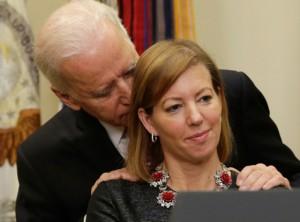 Joe Biden sniff wife hair