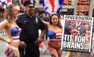 Times Square Cop With Topless