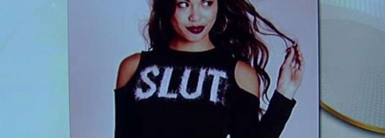 Girl wearing Slut sweater